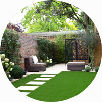 back garden fake turf